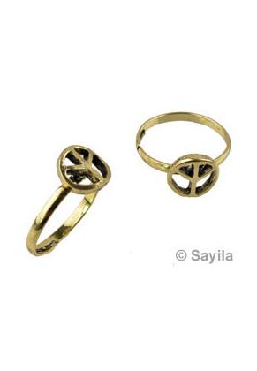 www.sayila.be - Metalen vingerring, vredesteken ± 22x19mm (binnenmaat ± 17mm, in maat verstelbaar)