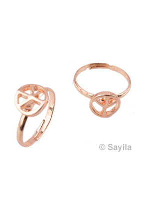 www.sayila.be - Metalen vingerring, vredesteken ± 22x19mm (binnenmaat ± 17mm, in maat verstelbaar)