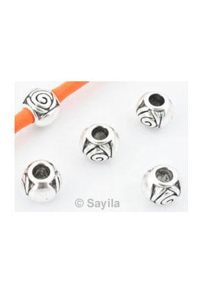 www.sayila.com - Large-hole-style metal bead round decorated ± 11x9mm (hole ± 4mm)