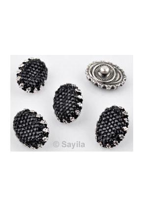 www.sayila.nl - Metalen EasyButton/drukknoop met kunststof plaksteen, ovaal ± 20x15mm (geschikt voor EasyButton sieraden maat: S)
