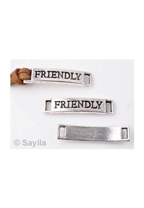www.sayila.es - Colgante/conector de metal, 'friendly' ± 28x6mm (ojos ± 4x1,7mm)