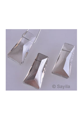 www.sayila.nl - Glaskraal kristal, facet geslepen met mooie glans ± 28x15mm (gat ± 1mm)