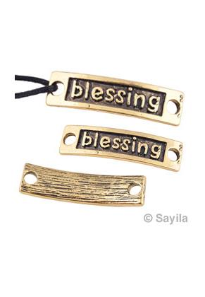 www.sayila.es - Colgante/conector de metal, 'blessing' ± 34x9mm (ojos ± 3,5mm)