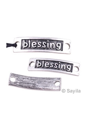 www.sayila.com - Metal pendant/connector 'blessing' ± 34x9mm (eyes ± 3,5mm)