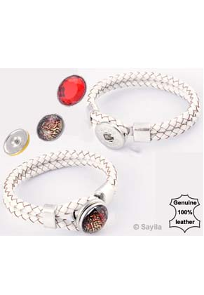 www.sayila.co.uk - DoubleBeads EasyButton leather bracelet with with metal clasp ± 21x2cm (innersize ± 17,5cm) (suitable for 1 EasyButtons size L )