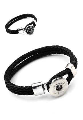www.sayila.nl - DoubleBeads EasyButton armband van leer met metalen sluiting ± 21x2cm (binnenmaat ± 17,5cm) (geschikt voor 1 EasyButtons maat L )