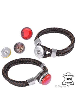 www.sayila.com - DoubleBeads EasyButton leather bracelet with with metal clasp ± 21x2cm (innersize ± 17,5cm) (suitable for 1 EasyButtons size L )