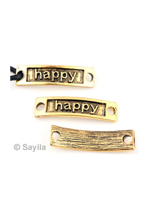 www.sayila.be - Metalen hanger/tussenzetsel 'happy' ± 34x9mm (oogjes ± 3,5mm)