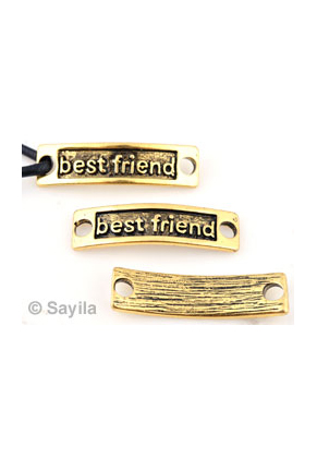 www.sayila.nl - Metalen hanger/tussenzetsel 'best friend' ± 34x9mm (oogjes ± 3,5mm)