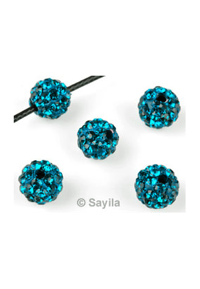 www.sayila-perlen.de - Polymertonperle (aus Knete) rund mit Strass ± 8mm (Loch ± 1,7mm)