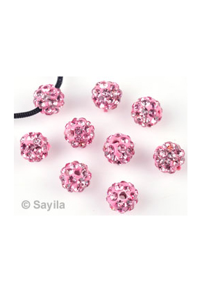 www.sayila.com - Polymer clay bead round with strass ± 6mm (hole ± 1mm)