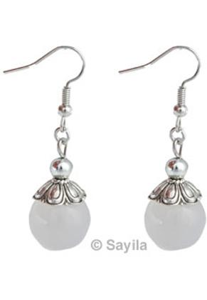 www.sayila.nl - Metalen oorbellen ± 44x14mm met natuursteen kraal Agate rond, ± 14mm zonder dopje