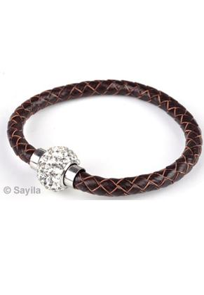 www.sayila-perlen.de - Leder Armband mit magnetischen Verschluß mit Polymerton (Knete) und Strass ± 20x1,6cm (Innermaß ± 17,5cm) (Achtung: nicht tauglich für Menschen mit einem Herzschrittmacher)