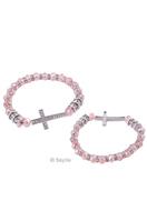 www.sayila-perlen.de - Armband von Glasperlen Kristall, Metall und strass, mit Metall Zwischenstück Kreuz mit Strass, elastisch, ± 18x1.7cm, Innermaß ± 18cm - 33620