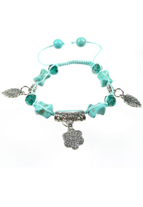 www.sayila.com - Bracelet with glass and natural stone Turquoise beads and metal pendants/charms, adjustable size ± 17-25cmx14mm