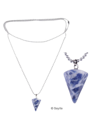 www.sayila-perlen.de - Metall Halskette (Edelstahl), ball chain (Kugelkette) ± 70cm mit Naturstein Perle Anhänger, kegelförmig ± 25x14mm