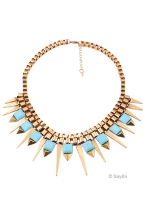 www.sayila.com - Metal necklace (with studs and spikes) ± 46,5x5,8cm with synthetic flatbacks (square), adjustable size