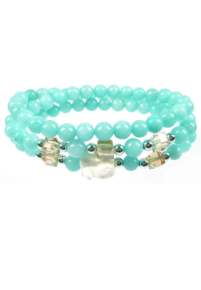 bracelet wrap 26cm avec perles de pierre naturelle perles en mati re synth tique look m tal. Black Bedroom Furniture Sets. Home Design Ideas