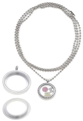 www.sayila.com - Metal necklace ± 80cm, with glass floating charm locket with strass ±31x25mm (inside ±18x3mm) stainless steel