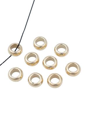 www.sayila-perlen.de - Kunststoff Metall look Perle, rondelle ± 10x5mm mit Großes Loch (± 5,5mm)