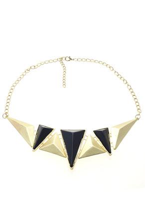 www.sayila.nl - Metalen halsketting ± 52-58cm, in maat verstelbaar, met metalen/kunststof driehoeken, geo/modern ± 170x64mm