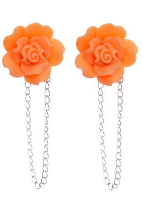 www.sayila.nl - Metalen oorstekers ± 80x25mm met kettinkje, bloem (polymeerklei), met dopjes