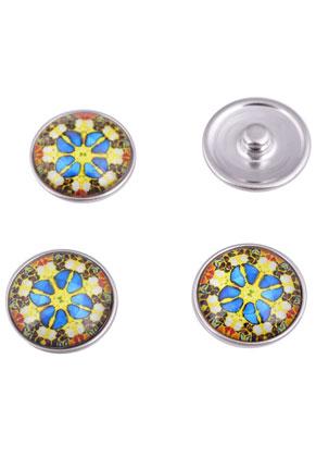 www.sayila.nl - Brass DoubleBeads EasyButton/drukknoop (messing) met glas plaksteen ± 20x9mm (geschikt voor EasyButton sieraden maat: L)