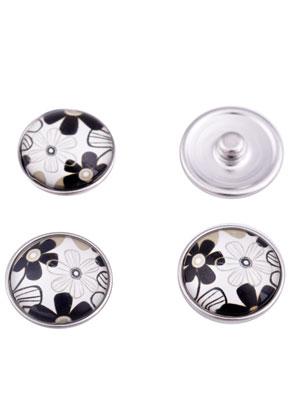 www.sayila.nl - Brass DoubleBeads EasyButton/drukknoop (messing) met glas plaksteen, bloemen ± 20x9mm (geschikt voor EasyButton sieraden maat: L)