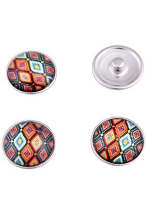 www.sayila.nl - Brass DoubleBeads EasyButton/drukknoop (messing) met glas plaksteen, Azteken ± 20x9mm (geschikt voor EasyButton sieraden maat: L)