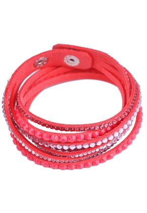 www.sayila.com - Imitation suede wrap bracelet with strass and metal press stud clasp, adjustable size ± 36-39x1,3cm (innersize ± 17-18cm)