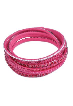 www.sayila.nl - Wikkelarmband van kunstsuede met strass en drukknoop sluiting, in maat verstelbaar ± 36-39x1,3cm (binnenmaat ± 17-18cm)