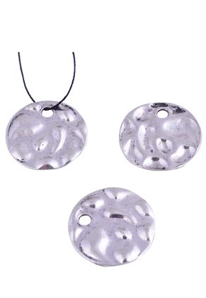 www.sayila-perlen.de - Metall Anhänger flach rund, verziert ± 24,5mm (Loch ± 3,5mm)