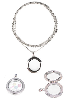 www.sayila.fr - Collier en acier inoxydable 'floating charm locket', circulaire 80x4cm