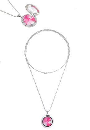 www.sayila.fr - 'Floating charm locket' collier en acier DQ, circulaire 80cm