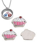 www.sayila.nl - Metalen 'floating charm' cupcake 9x7mm - 36517