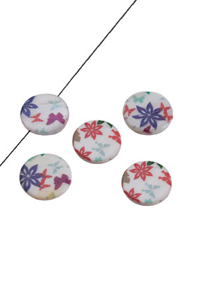 www.sayila.com - Mother of pearl bead flat round, flowers and butterfly 20mm