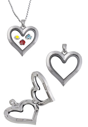 www.sayila.es - Colgante 'Floating charm locket' de metal, corazón 36x30mm