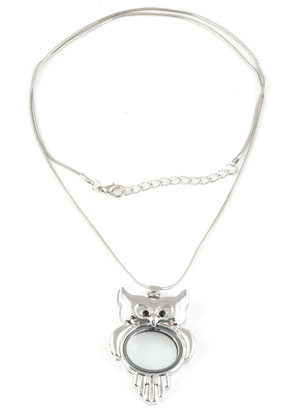 www.sayila.fr - Collier en métal 'floating charm locket' hibou