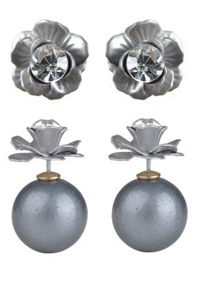 www.sayila.nl - Dubbele parel oorbellen met bloem 27x16mm