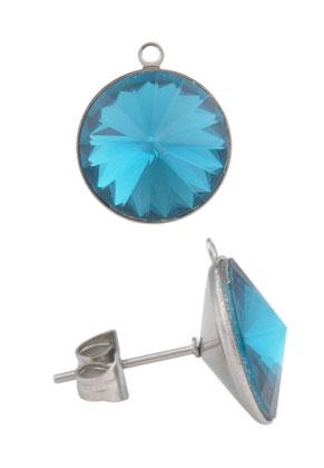www.sayila.nl - Metalen oorsteker met oogje en strass 17x13mm (roestvrij staal)