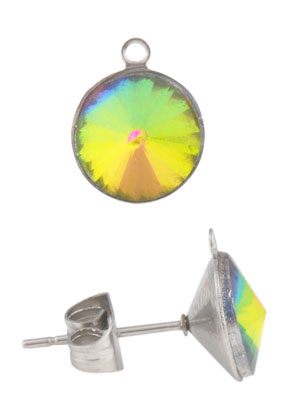 www.sayila.com - Metall ear studs with eye, with cap and strass 16x11mm (stainless steel)