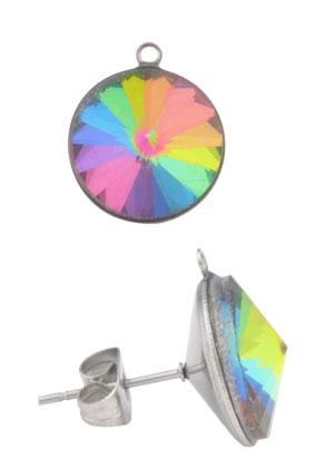 www.sayila.nl - Metalen oorsteker met oogje en strass 18x15mm (roestvrij staal)