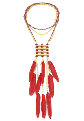 www.sayila.es - Collar de metal plumas 70x3,9cm