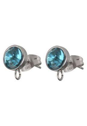 www.sayila.be - Roestvrijstalen oorstekers met oogje en strass DQ 16x10mm