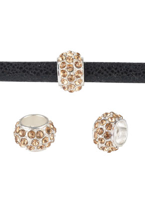 www.sayila.com - Large-hole-style metal bead roundel with strass 11x7mm