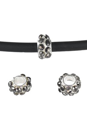www.sayila.be - Groot-gat-style metalen kraal rondel met strass 9x5mm