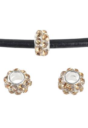 www.sayila.fr - Style grand-trou perle en métal rondelle avec strass 9x5mm