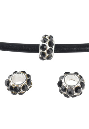www.sayila.nl - Groot-gat-style metalen kraal rondel met strass 9x5mm