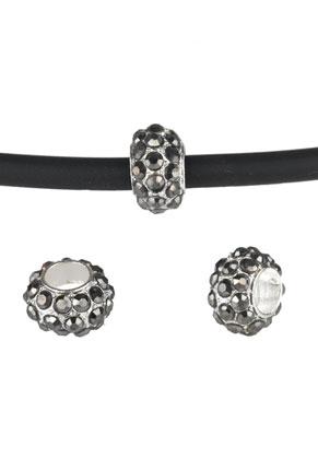 www.sayila.be - Groot-gat-style metalen kraal rondel met strass 13x8mm