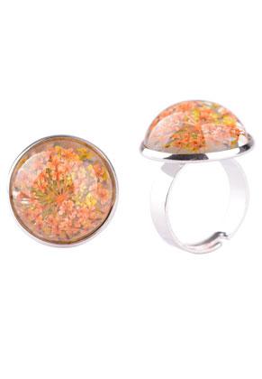 www.sayila.es - Anillo de metal con cabujón de resina con flores secas 29x22mm
